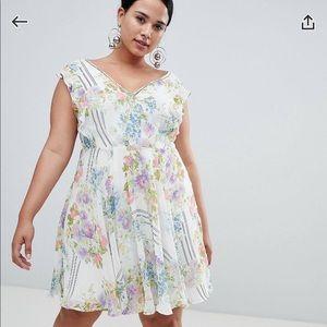 EUC ASOS Curve Cute Floral Mini Dress Sz 18